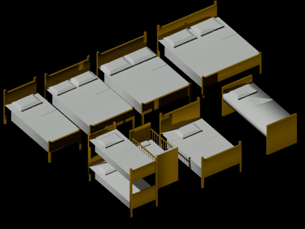 3d bed design in AutoCAD file