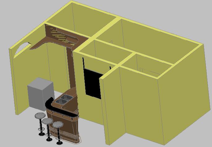 3d design of bar detail of hotel dwg file
