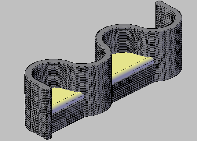 3d design of both sided couch for house dwg file