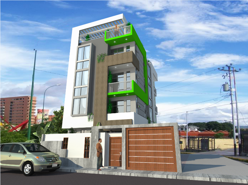 3d design of four level housing building dwg file
