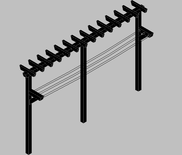 3d design of garden clothes horse in wood dwg file