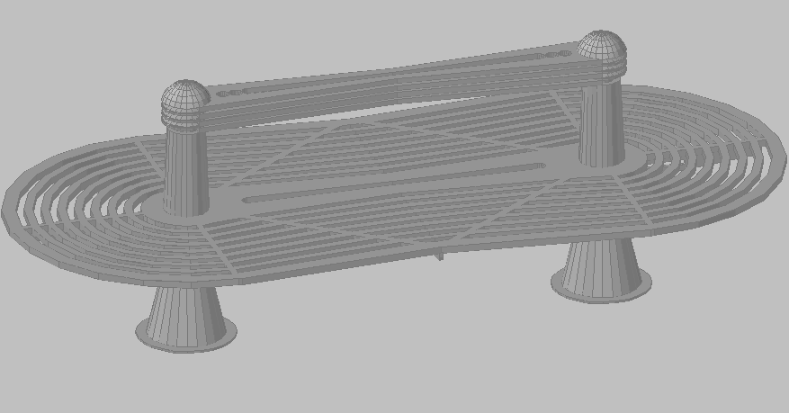 3d design of garden seating bench details dwg file