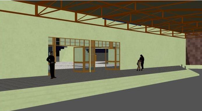 3d design of multiplex theater entrance dwg file
