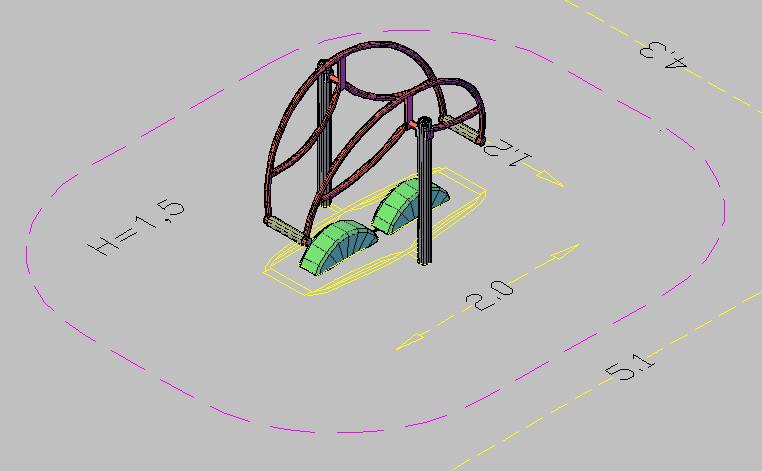 3d design of park children equipment dwg file