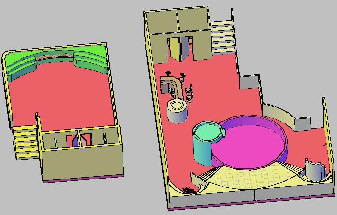 3d design of sauna steam Jacuzzi details dwg file