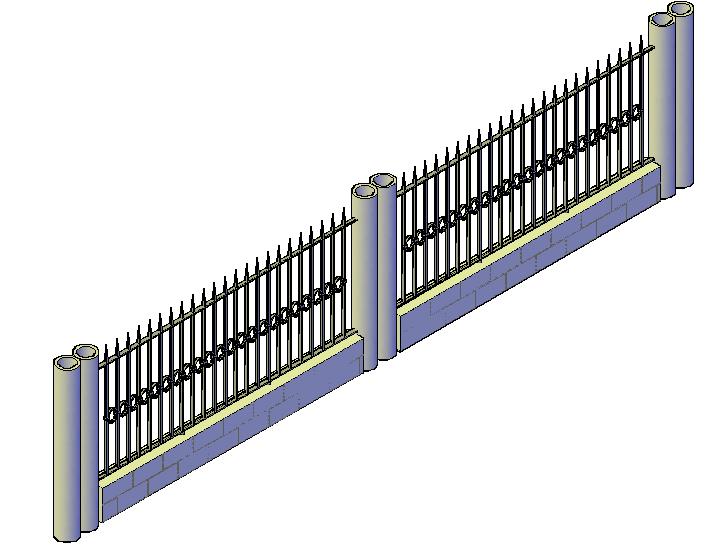 3d design of wrought iron facade