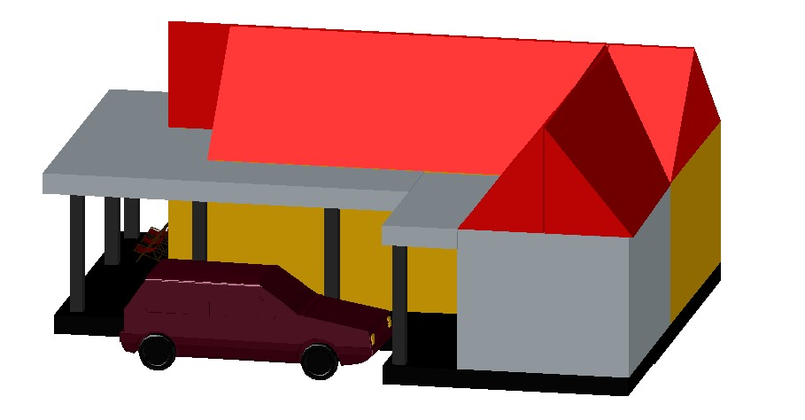 3d drawing of house design in autocad