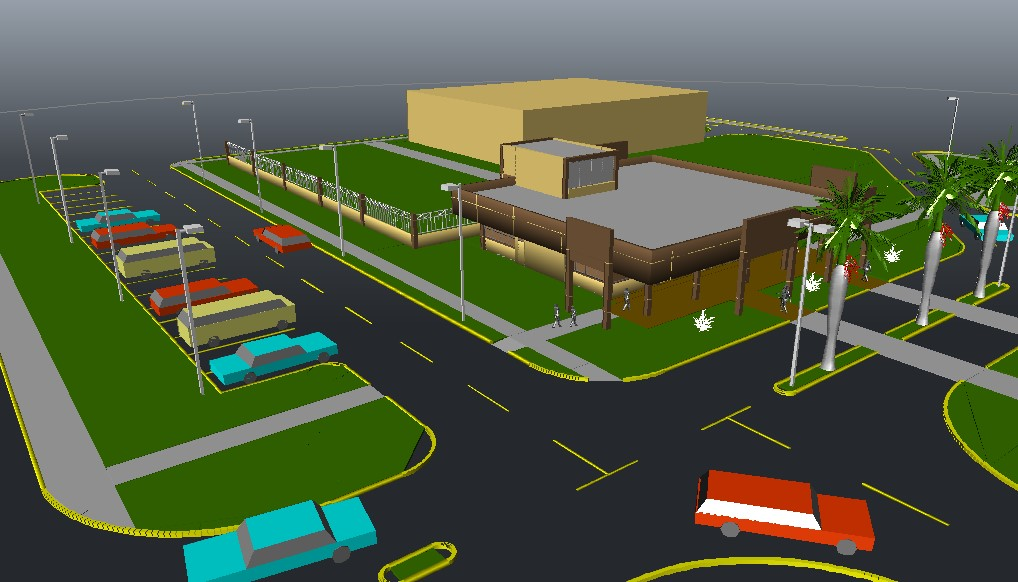 Shopping center 3d model in AutoCAD file