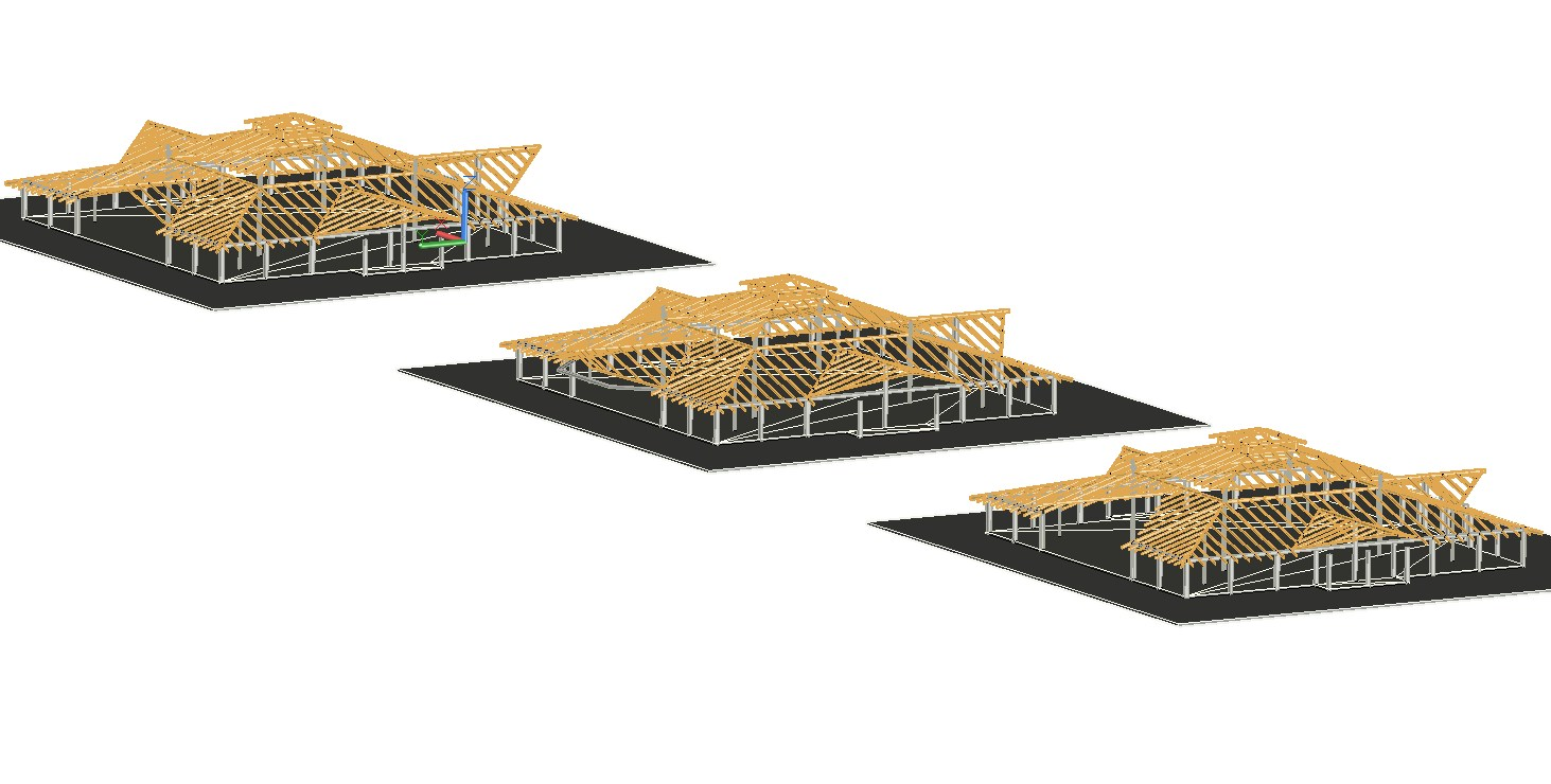 3d drawing of wooden structure detail of house