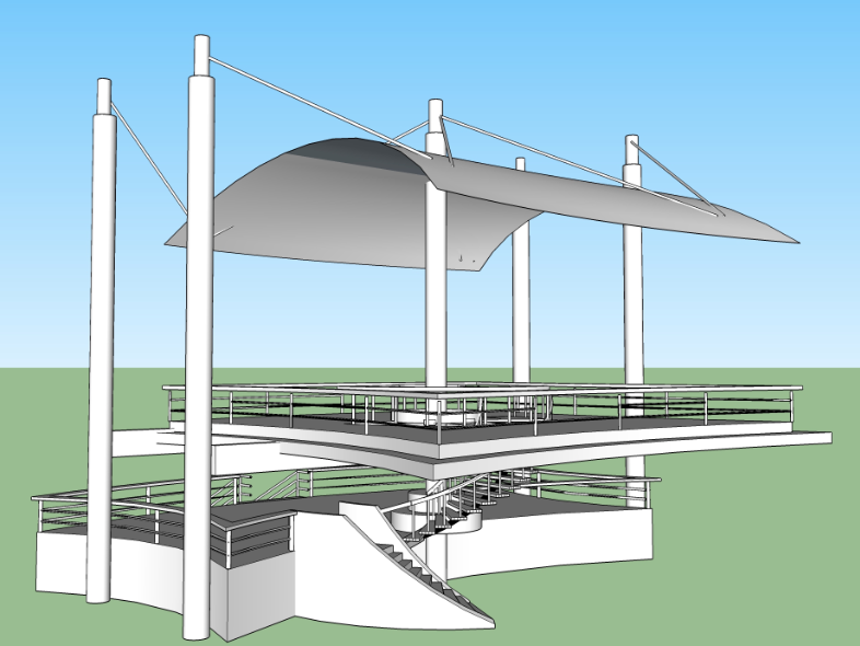 3d view audience seating roof structure detail view max file