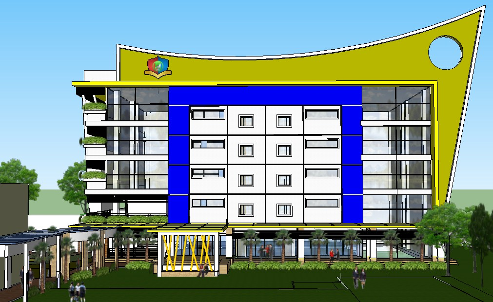 3d view of building campus.