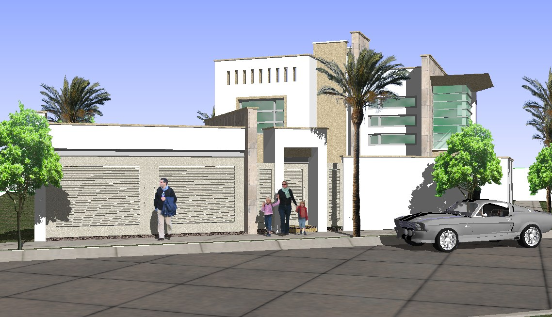 3d view of bungalow.