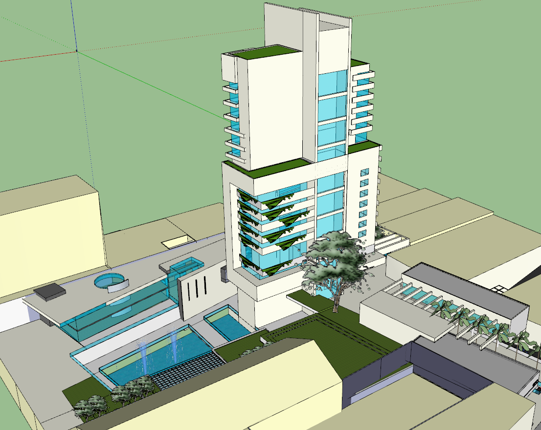 3d view of high-rise building skp file