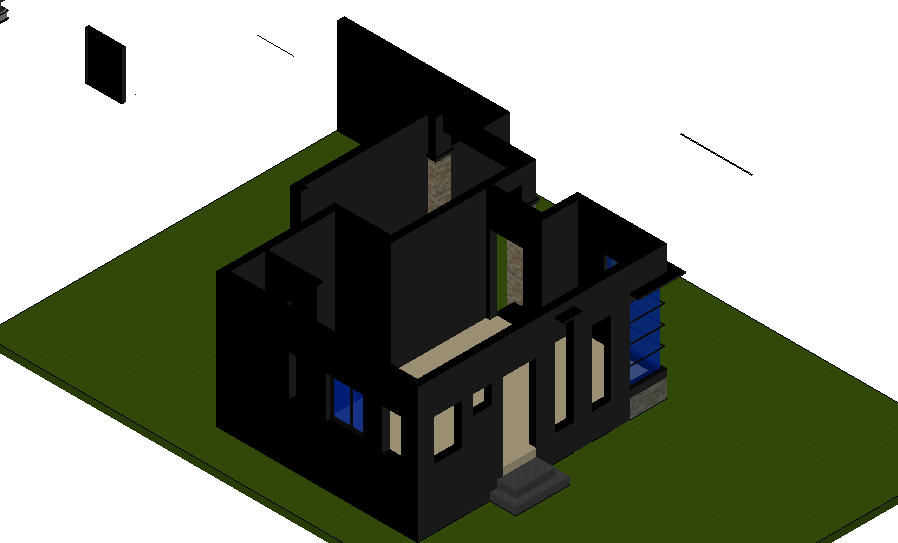 3d view of house plan design dwg file