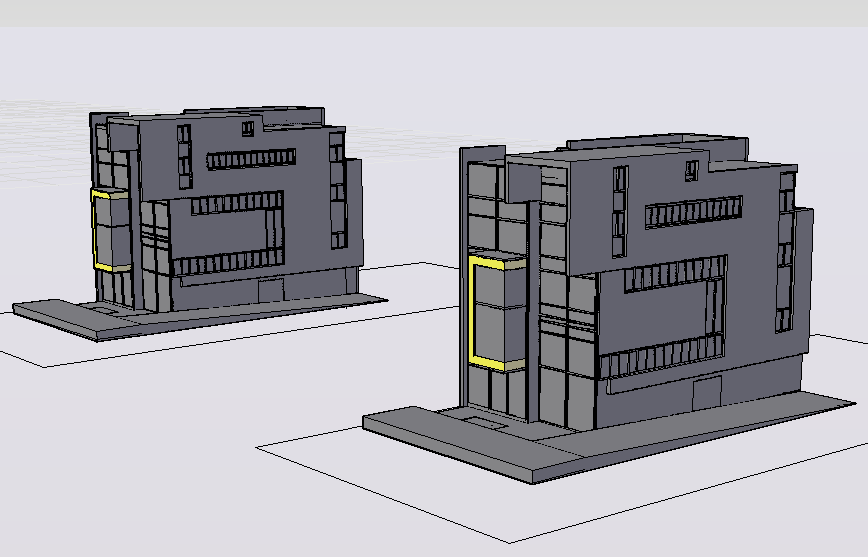 3d view of residential building dwg file