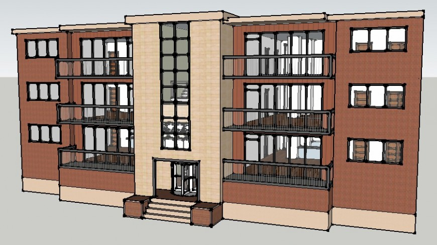 3d model drawings of three story building units sketch-up file