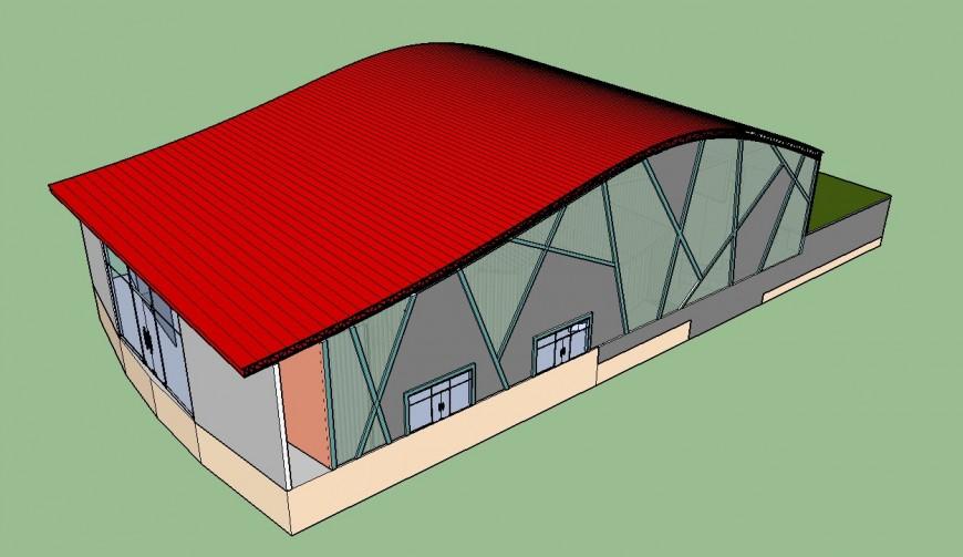 3d model of multiplex theater building blocks detail sketch-up file