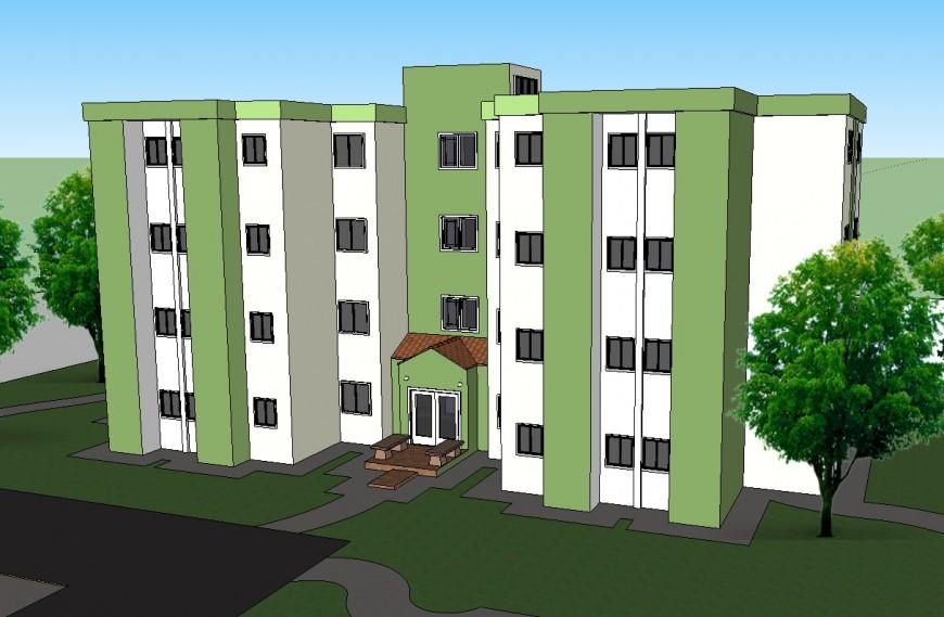 3d residence apartment building design skp file