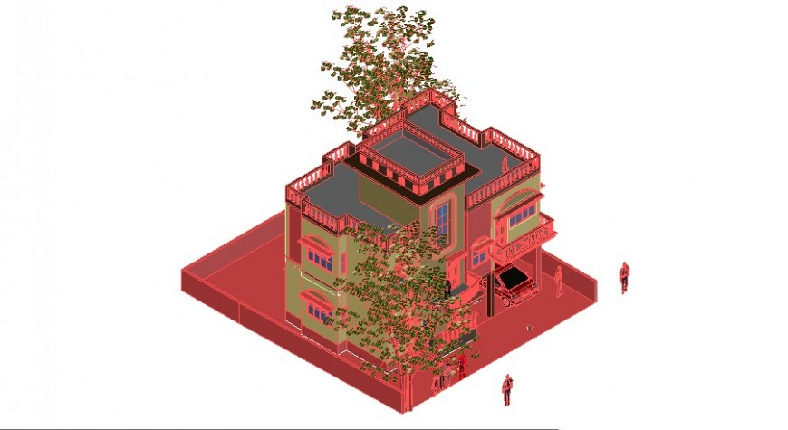 3d view of house in auto cad software