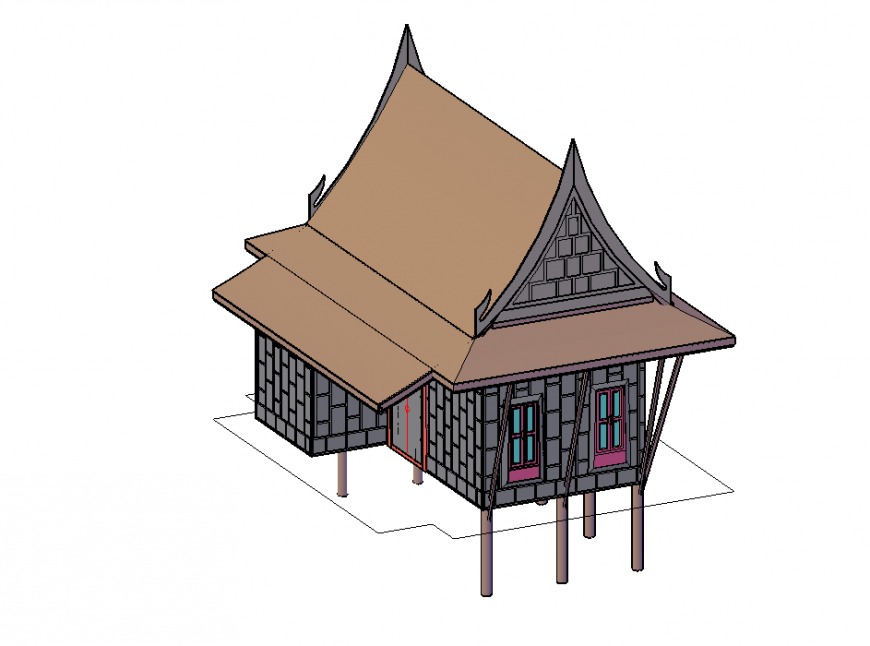 3D Wooden House Project detail