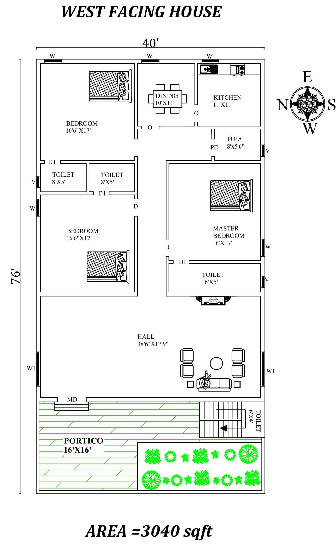 3 BHk  West Facing House  Plan  as per vastu Shastra Autocad