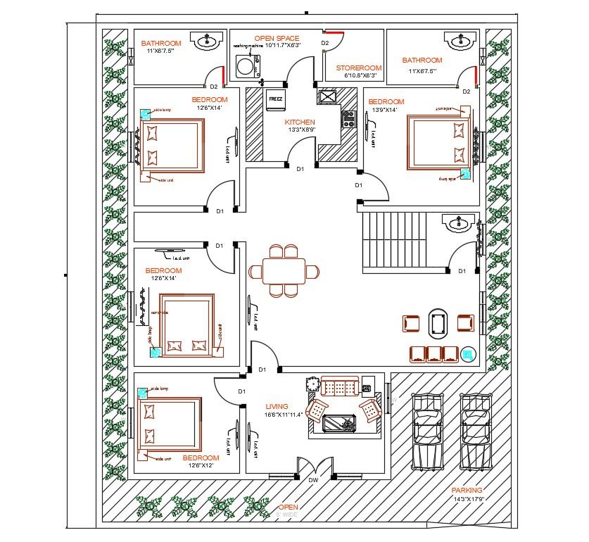 4 Bedroom House AutoCAD Ground Floor Plan Design - Cadbull