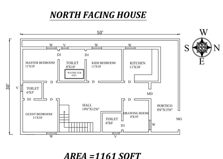 50 X30 Splendid 3BHK  North Facing House  Plan  As Per