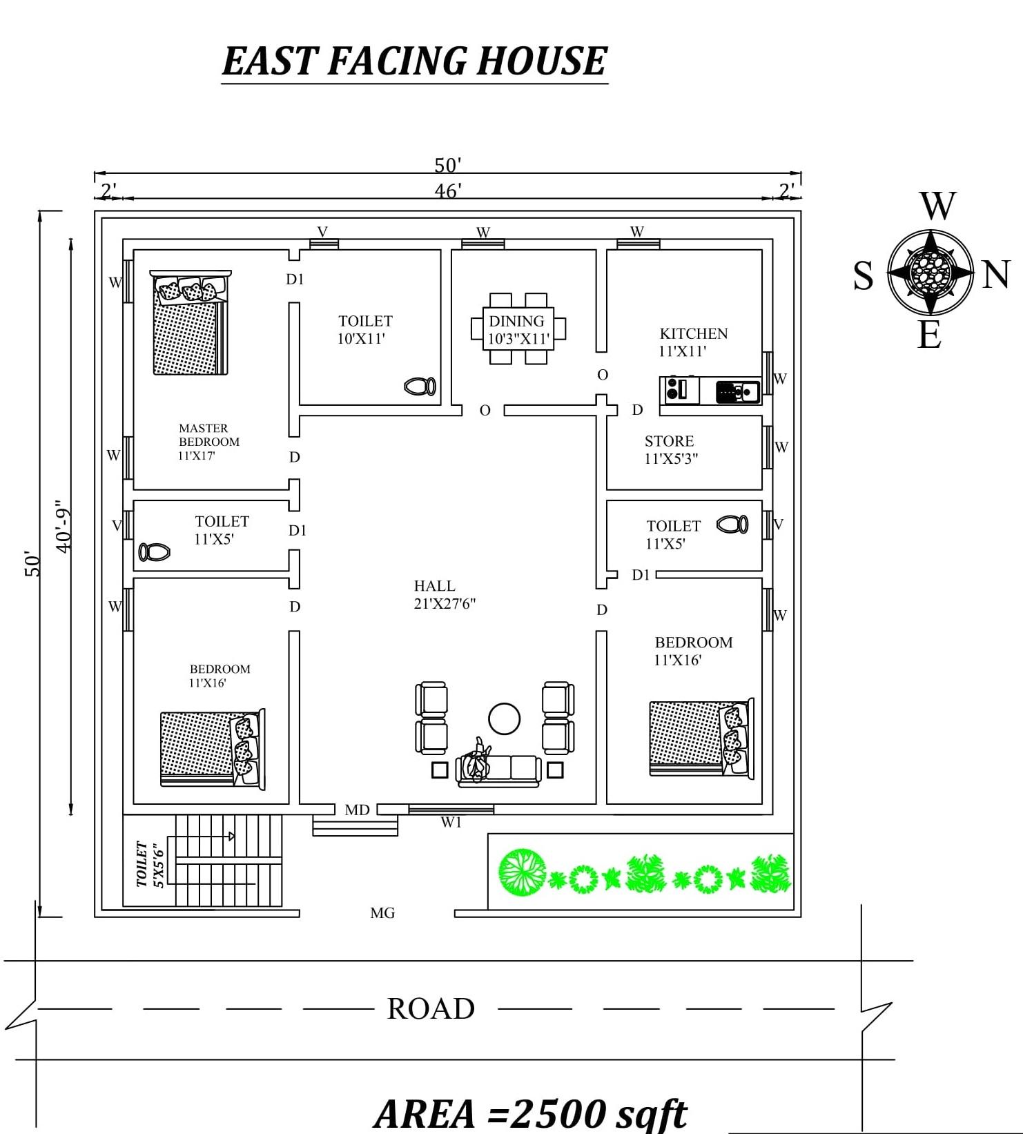 50 X50 Superb East Facing 3BHk  House  Plan  As Per Vasthu