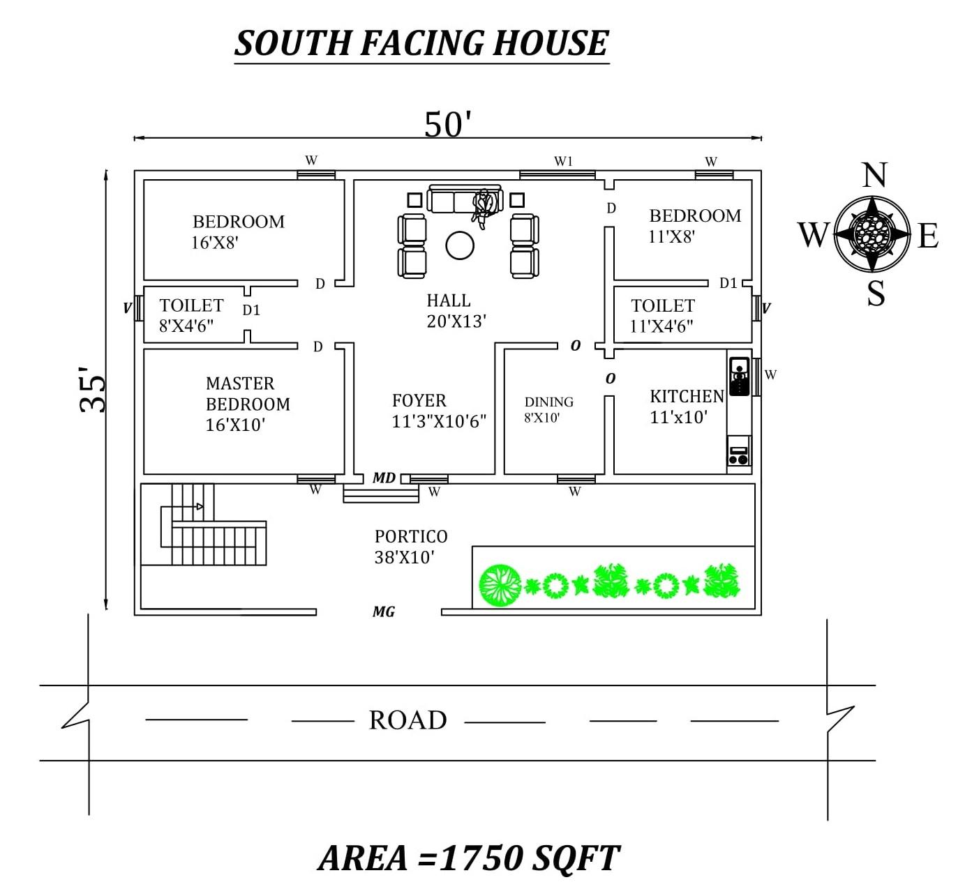 50 x35 South facing 3BHK  House  plan  as per vastu shastra