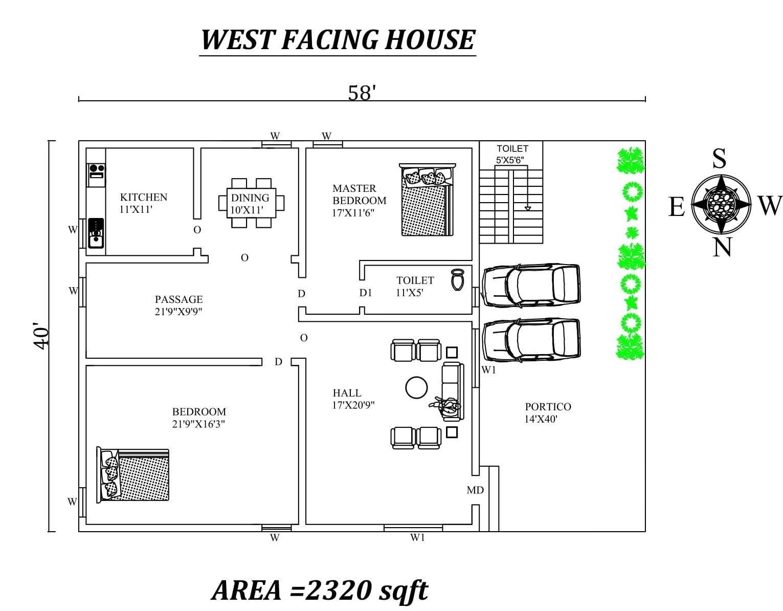 58 x40 2 bhk west facing house plan as per vastu shatra