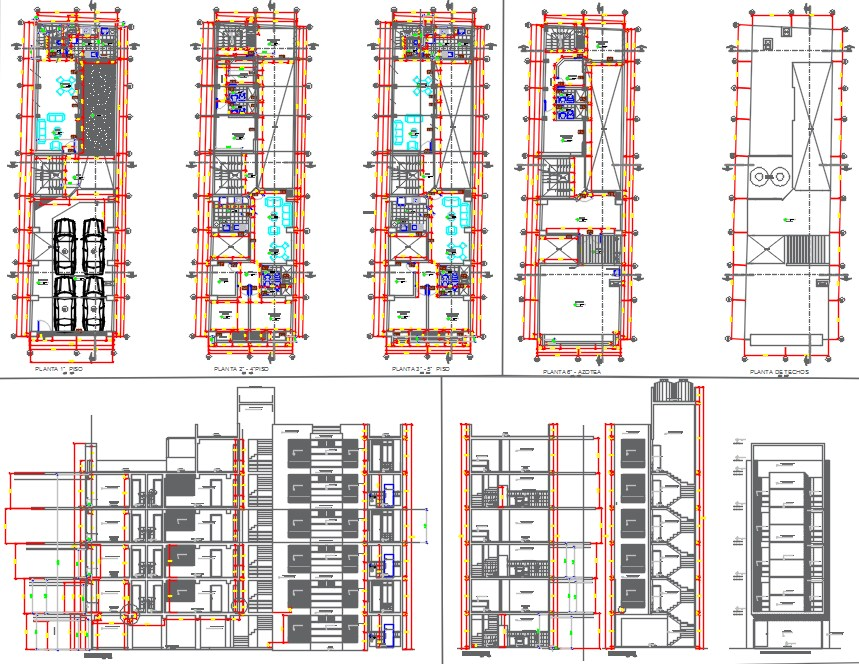5floors building dwg.file