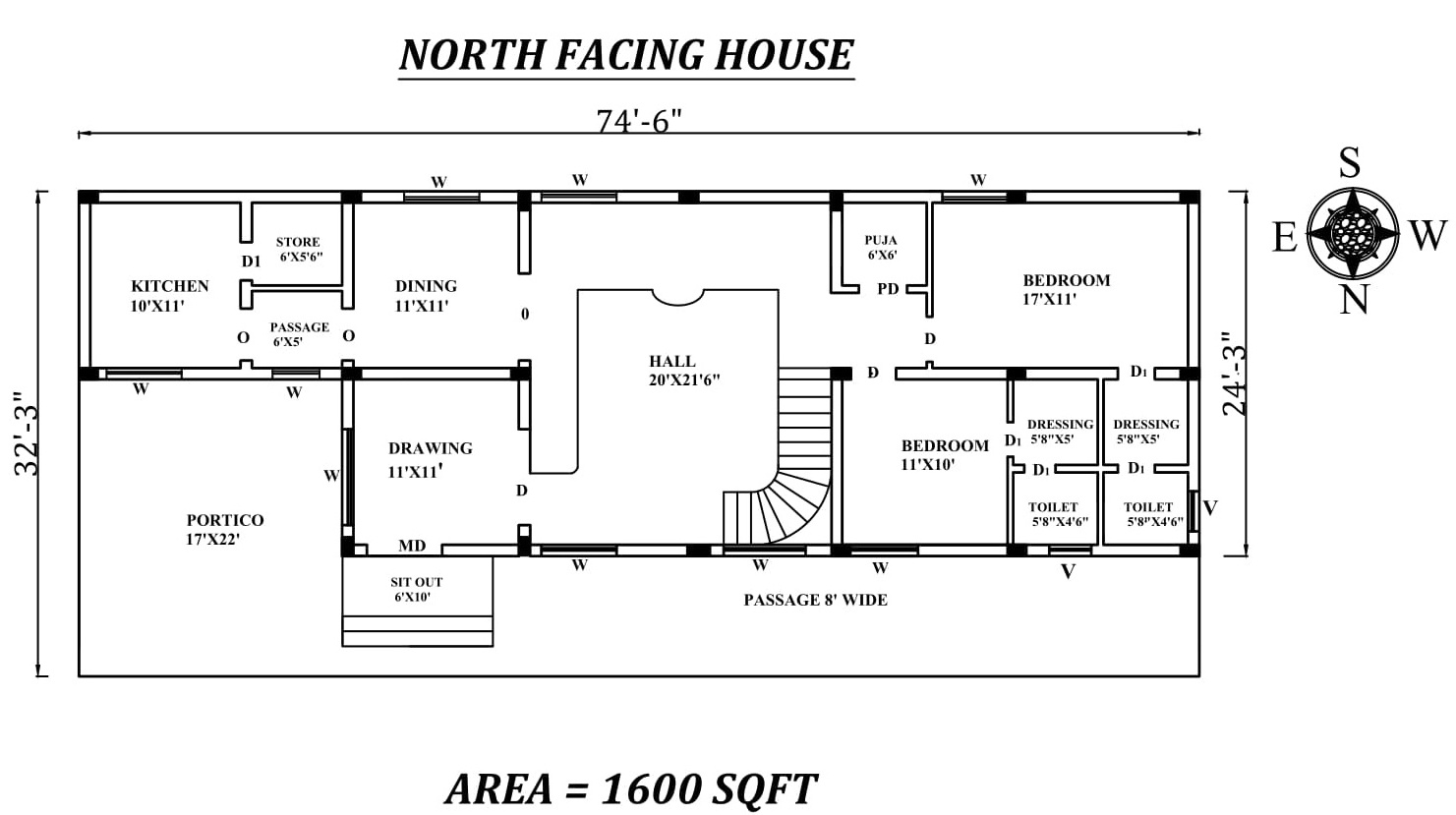 74 6 quot x24 3 quot the perfect 2bhk north facing house plan as