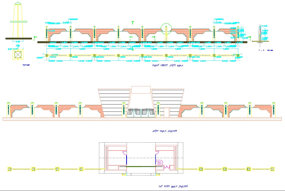 Main gate design and detail autocad dwg files.