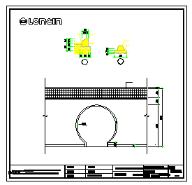 District Moon Gate large sample road along stone sample design drawing