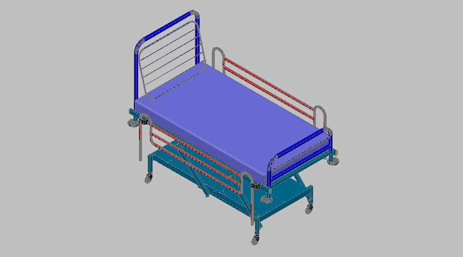 Adjustable 3d patient bed elevation cad drawing details dwg file