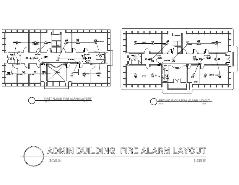 Admin Building Fire Alarm Layout Plan
