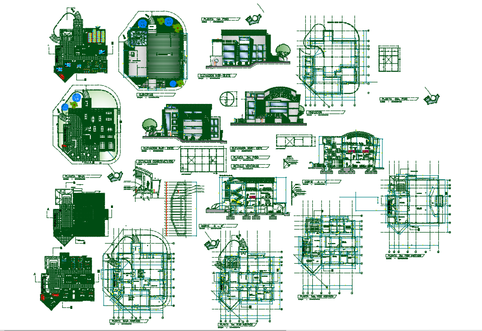 Administrative building block campus dwg file