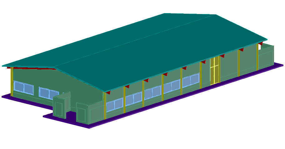 Administrative building design view in 3d dwg file