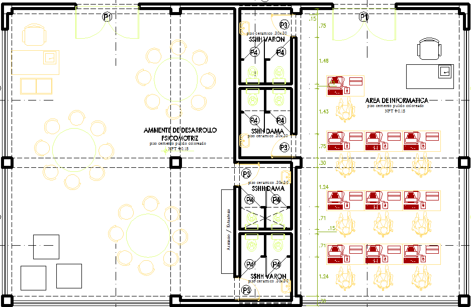 Administrative office layout plan dwg file