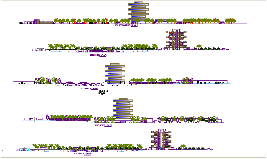 Agricultural university building elevation and different axis section view dwg file