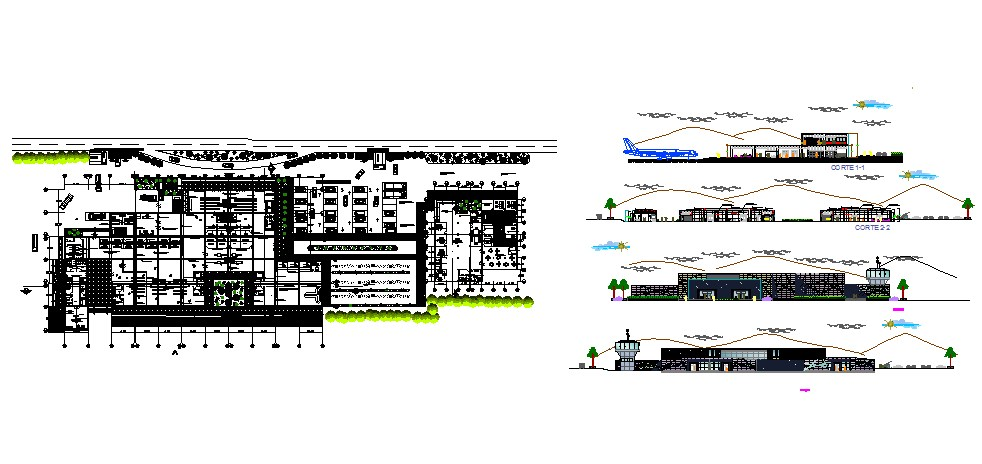 Airport Building Elevation Section And Floor Plan Cad
