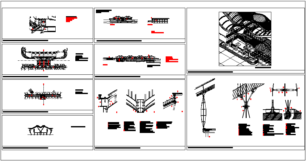 Airport design view with plan and sectional view dwg file