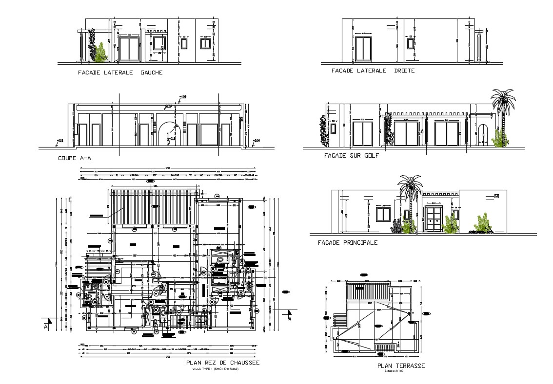 All Sided Elevation Section And Plan Details Of Villa Type