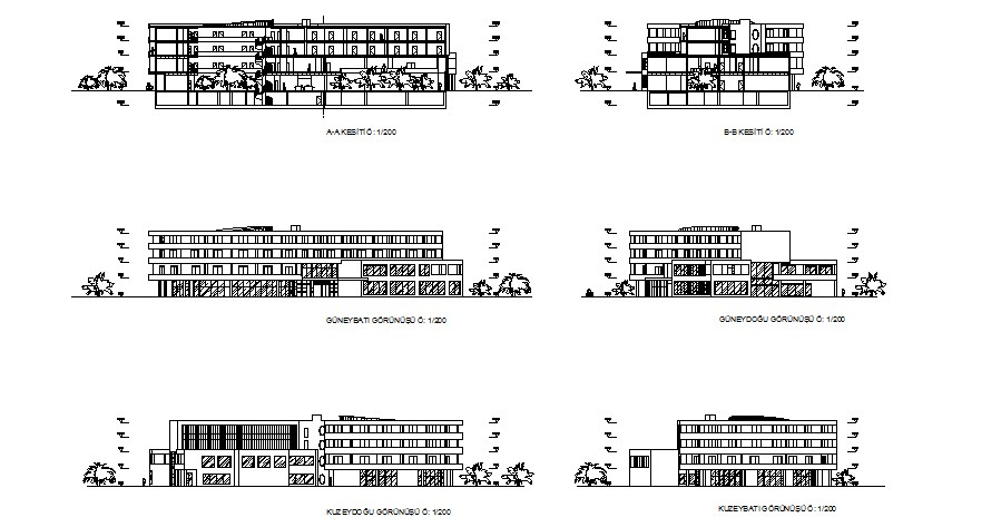 All sided elevation and section details of multi-flooring luxuries hotel dwg file