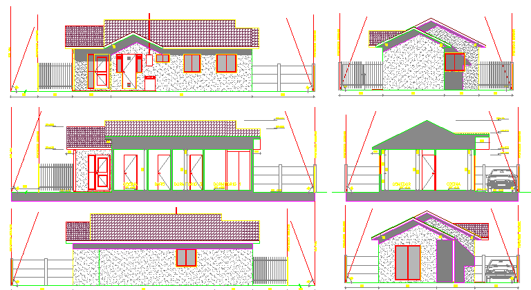 All sided elevation of one family house design dwg file