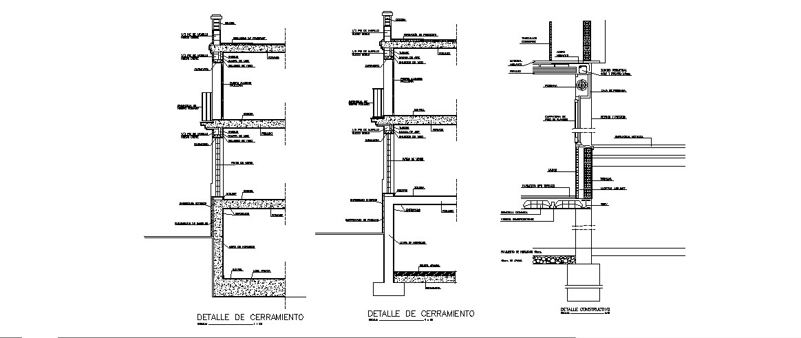 All sided section by facade of building cad drawing details dwg file