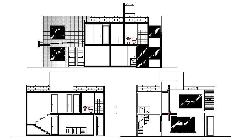 All sided sectional view of single family house project dwg file
