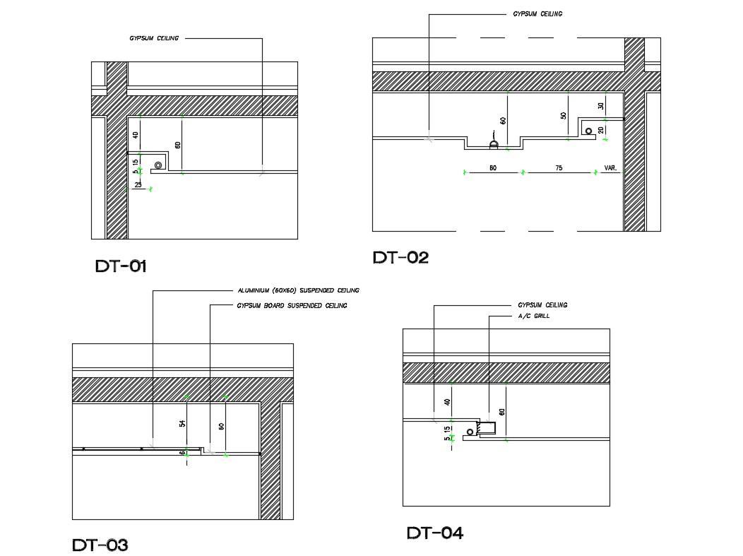 Aluminium Suspected Ceiling Cad Structure Details Dwg File