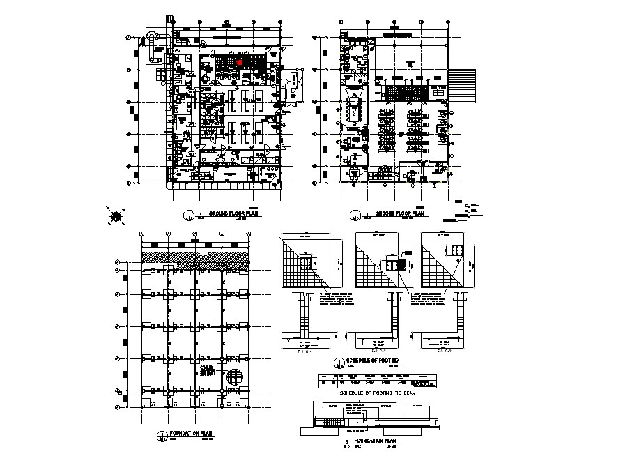 Annex admin and lab building ground, first floor, foundation plan and construction details dwg file