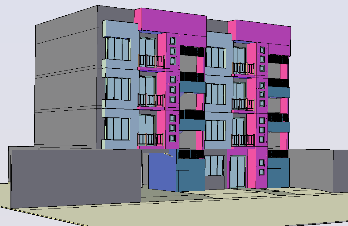 Apartment 3d drawing in cad
